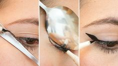 Use a spoon to create the perfect winged liner.
