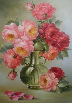 Pintura a Óleo Sobre Tela - Eduardo Mecenero: Vaso com Rosas