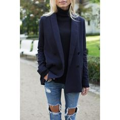 navy blazer with distressed denim. - Total Street Style Looks And Fashion Outfit Ideas Navy Blazer Outfits, Look Blazer, Navy Blazers, Navy Blue Blazer, Casual Blazer, Dark Blue Jeans Outfit, Long Black Blazer, Long Blazer Jacket, Navy Blue Sweater