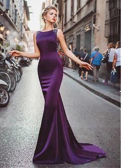 comprar Winsome Tulle & acetato joya escote satinado sirena vestidos de noche con bolas de descuento en Dressilyme.com