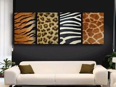 living room with african decor-use animal skin as wall decoration