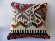"Turkish Kilim Pillow,20""x20"" inch Tribal Kilim Rug Pillow Cover,Big Size Kilim Pillow,Anatolian Old Decorative Kilim Rug Pillow Cover."