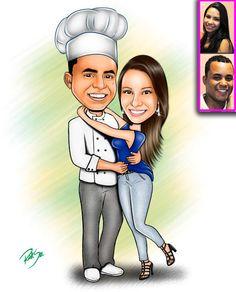 Caricaturas digitais, desenhos animados, ilustração, caricatura realista: Desenho de casal de namorados !!
