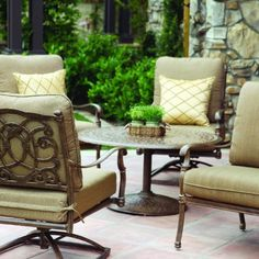 Darlee Florence 4-person Cast Aluminum Deep Seating Patio Conversation Set - Mocha by Darlee. $2459.00. Lightweight aluminum frame makes rearranging your furniture easy. Mocha powder coating is tougher than conventional paint finishes. Cast aluminum construction promotes rust resistance. Relax more comfortably with polyester seat cushions. Set Includes: Conversation Table, 2 Lounge Chairs, 2 Swivel Rocker Lounge Chairs, Sesame-Colored Polyester Cushions. Darlee F...