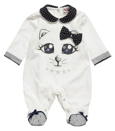 #Ivory babygrow with navy blue and ivory collar by Monnalisa. £ 52,00