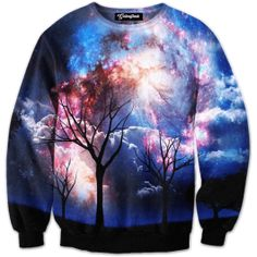The leafless trees sway in the dark night sky admiring earths natural painting  See the clouds spiraling and blending with the stars of the galaxy  Our full print crewneck sweatshirts are uniquely crafted using a special sublimation technique to trans