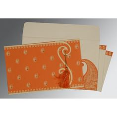 Give your wedding a special feel with our exclusive Orange, Matt paper, Hindu Wedding Cards - W-8252D