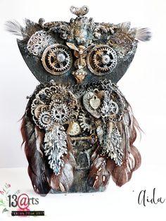 Altered steampunk owl by Ayeeda #steampunk #alteredart  #mixedmedia