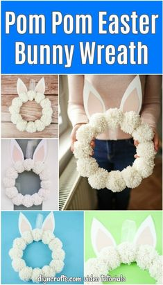 Create these beautiful and fun yarn pom poms bunny wreath in under a half hour. This easy wreath is a great kids Easter craft project! #PomPomEasterBunny #PomPomWreath #EasterWreath #EasterDecor #YarnPomPoms #BunnyWreath