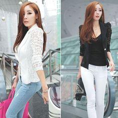 Women Ladies Lace Slim Casual Business Work Wear Blazer Suits Short Jacket Coat #Unbranded #Blazer