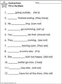 Contractions Worksheet | 1st grade | Pinterest | Worksheets ...