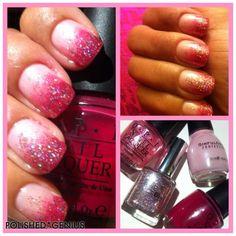 Polishedgenius.blogspot.com  Pink Ombré Sparkle