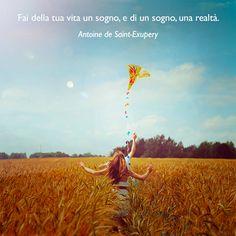 Fai della tua vita un sogno, e di un sogno una realtà. (Antoine de Saint-Exupery) #cit #ciTIamo #quote #aforismi