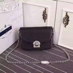 2016 Cheap Prada Arcade Calf Leather Shoulder Bag 1BD030 in Black