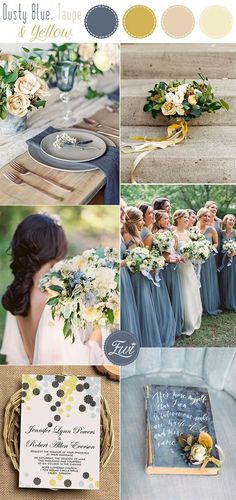 yellow wedding 10 Stunning Neutral Flower Bouquets inspired Wedding Color Palette Ideas dusty blue, taupe and yellow neutral wedding colors Blue Yellow Weddings, Yellow Wedding Colors, Dusty Blue Weddings, Summer Wedding Colors, Wedding Color Schemes, August Wedding Colors, Blue Colors, Wedding Color Palettes, Pastel Blue Wedding