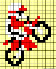 Perler Beads, Fuse Beads, Perler Bead Designs, Motocross, Cross Stitch Designs, Cross Stitch Patterns, Beading Patterns, Crochet Patterns, Broderie Simple