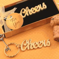 Metal Cheers Themed Keychain with a Gold Finish- 'Cheers' is the universal toast - offered at any event where friends and family are celebrating. Bring Cheers to your unique occasion with these stunning keychains. From our latest collection, Fashionc Unique Bridal Shower, Wedding Shower Favors, Bridal Shower Party, Bridal Showers, Retreat Gifts, Women's Retreat, Gold Wedding Theme, Personalized Favors, Retirement Gifts