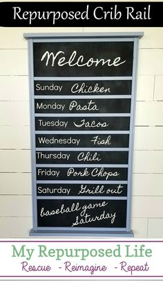 Make a chalkboard menu board out of a repurposed crib rail. Step by step directions to use up your recalled baby bed. Furniture Projects, Furniture Makeover, Diy Projects, Furniture Nyc, Outdoor Furniture, Cheap Furniture, Project Ideas, Craft Ideas, Make A Chalkboard