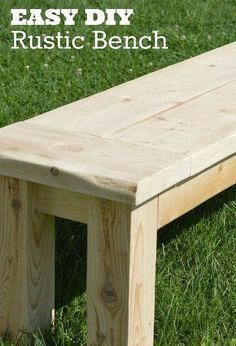 Woodworking Bench super easy rustic bench, how to, outdoor furniture, woodworking projects - This easy rustic bench can be made with only 3 boards and will take the average DIYer less than an hour to build! Use this bench indoors or out, in your garden… Easy Woodworking Projects, Popular Woodworking, Woodworking Furniture, Diy Wood Projects, Woodworking Plans, Carpentry Projects, Woodworking Basics, Youtube Woodworking, Woodworking Workshop