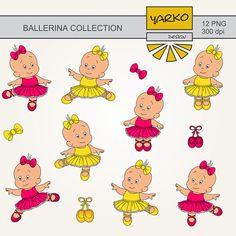 Cute Baby Girl Digital Clip Art Ballerina Digital by YarkoDesign, $3.49
