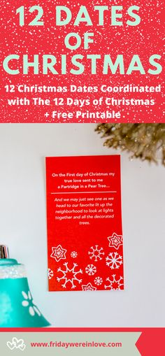 12 Christams Date Ideas that are coordinated with the 12 Days of Christmas. Fun holiday date ideas to turn up the romance with a free printable to guide you through each date!  #fridaywereinlove 12 Dates Of Christmas, Holiday Dates, Christmas Countdown, Family Christmas, All Things Christmas, Holiday Fun, Unique Date Ideas, Romantic Dates, Good Dates