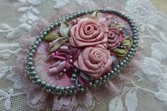 Pink-grey vintage inspired floral cameo brooch-necklace pendant-hair accessory textile jewelry with ribbon embroidery Rose garden by Virvi on Etsy