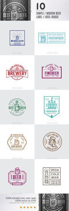 10 Modern Beer Label, Logos & Badge #logo #labels #design Download: http://graphicriver.net/item/10-modern-beer-label-logos-badge/11788892?ref=ksioks
