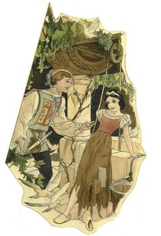 """Snow White and the Seven Dwarfs"" 1937 Disney illustration concept art by Gustaf Tenggren of Snow White & Prince Charming at the wishing well Art Disney, Film Disney, Disney Concept Art, Disney Kunst, Disney Couples, Disney Love, Disney Magic, Disney Pixar, Disney Villains"