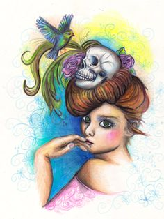 Lady with Skull and Bird, Pinup inspired, tattoo inspired, wall art, DIGITAL DOWNLOAD, Printable Art, Instant download by Drankthepaint on Etsy