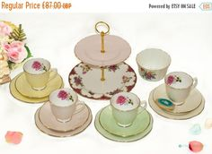 ON SALE 15% 14 Piece  Harlequin Pastel by FlyingSquirrelNest Tea Sets, Vintage Tea, Tiered Cakes, Pastel, Unique Jewelry, Handmade Gifts, Etsy, Kid Craft Gifts, Cake