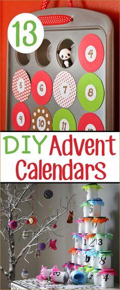 13 DIY Advent Calendars.  Homemade ways to countdown to Christmas.  Creative way to surprise the kids.  Calendars even the kids can help make.