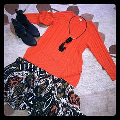 """Cable Knit Tunic Rusty orange colored long sleeve cable knit tunic. Perfect for Fall! 70% Polyester / 30% Wool. At 27"""" it's a great length for skirts, jeans, and leggings. J. Jill Sweaters"""