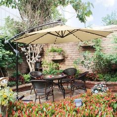 Landscaping With Rocks, Front Yard Landscaping, Backyard Patio, Backyard Ideas, Backyard Projects, Best Patio Umbrella, Patio Umbrellas, Outdoor Umbrella, Outdoor Dining Set