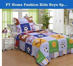 "FT Home Fashion Kids Boys Sports Theme Patchwork Print Twin Size Quilt Set, 2 Pieces. 2pcs Kids Bedspread Set Twin Size 100% Polyester Boys&Girls Bed spread 65""x 85"" Pillow Sham measures 20"" x 26"" + 2"" 1pc."