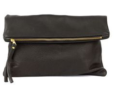 Oversized Leather Fold Clutch. Black goes with everything!