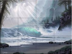 Backsplash designs - Beach Scene tiles - Northern Pacific Magic-JR - Tile Mural
