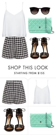 """Sunny"" by thefashionguilty on Polyvore featuring moda, Emma Cook, Alice + Olivia, Gianvito Rossi, Chanel, Ray-Ban, shorts y blackandwhite"