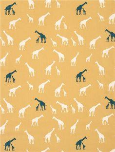 yellow 'Serengeti' giraffe organic fabric by birch USA 2