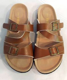 df1f366ea NWOT TRENDYWAY WOMENS CORK FOOTBED OPEN BACK BROWN SLIDE STRAP SANDALS SIZE  42 #fashion #clothing #shoes #accessories #womensshoes #sandals (ebay link)