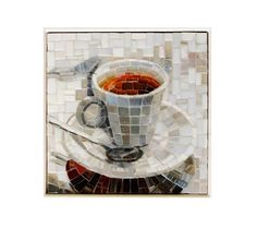 Mosaic Picture Cup of TeaHome decor kitchen decor mosaic picture wall hanging Mosaic Cafe, Kitchen Mosaic, Mosaic Diy, Mosaic Tiles, Picture Cups, Picture Wall, Mosaic Designs, Mosaic Patterns, Mosaic Artwork