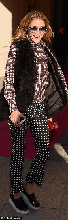 Olivia Palermo is effortlessly stylish in patterned pants as they lead the front row crowd at Schiaparelli show in Paris | Daily Mail Online