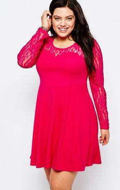 Praslin Kleid mit Spitze  Praslin Lace Dress    Stretchiges Spitzenkleid in knalliger Trendfarbe  | Übergröße - XXL-Mode - Plus Size - Große Größen - Molly