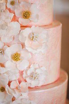 hand painted watercolor cake with a pearl finish and hand-rolled flowers