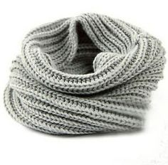 Grey Women Winter Warm Infinity 2 Circle Cable Knit Cowl Neck Long Scarf Shawl