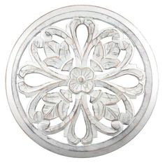Beautifully liven up any room in your home with the help of this gorgeous Fetco Tino White Round Wooden Medallion Wall Art. Decor Collection, Wall Decor Pictures, Wooden Wall Design, Wooden Wall Panels, Carved Wall Decor, Iron Wall, Iron Wall Decor, Wood Wall Decor, Medallion Wall Art