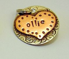 Custom pet ID tag- personalized mixed metal tag for dogs and cats-  the Ollie. $20.00 USD, via Etsy.