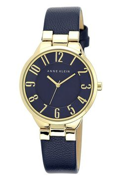 $65.00 Anne Klein Round Leather Strap Watch, 34mm available at #Nordstrom