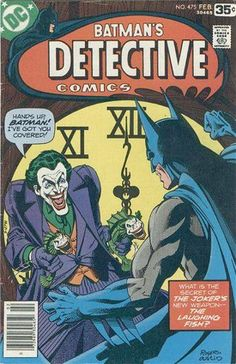 """Batman #475  ..  'Batman' / 'Detective Comics' (1973-78)     Throughout the 1970s, a variety of artists and writers, including Dennis O'Neil, Neal Adams, Marshall Rogers and Steve Englehart, sought to return the Joker to his murderous roots. In particular, the story """"The Laughing Fish"""" in Detective Comics #475, in which he creates fish in his own smiling image and seeks to patent them, helped define the character for the next decade, placing a great and greater emphasis on his lethal…"""