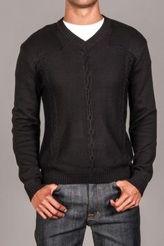 Black Cable Knit Sweater-casual doesn't have to be jeans and a T...this is a super hot look