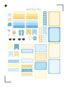 Free Beach Sampler Sticker Set | Sweet Bean Plans